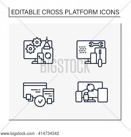 Cross Platform Line Icons Set. Programming Environment. Development, Coding Toolkit, Compatibility,