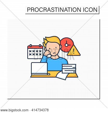 Delaying Deadlines Color Icon.schedule Gets Out. Task Execution Delay.postpone Unpleasant Tasks For