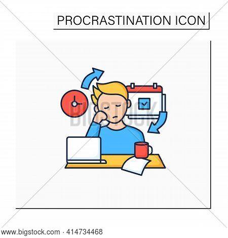 Chronic Procrastination Color Icon.unhappy Statistic.tired Person At Workplace. Routine Procrastinat