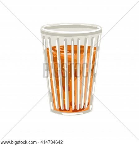 Faceted Glass Of Juice. Glass Full Of Orange Juice Vector Cartoon Style