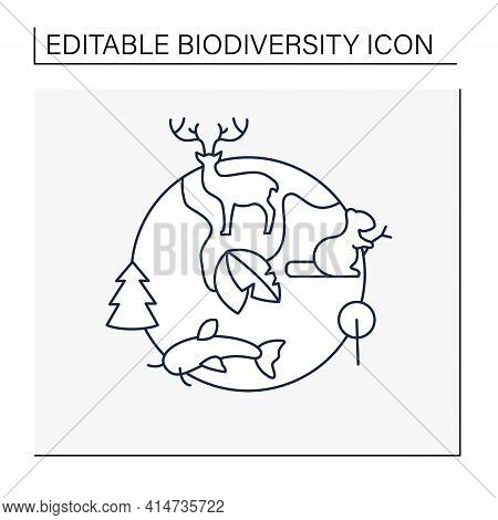 Biodiversity Line Icon.variety, Life Variability On Earth. Different Animals, Plants Kinds. Underwat