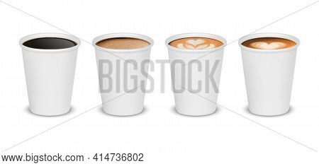 Vector 3d Realistic Paper White Disposable Cup Set Isolated With Black, Milk Coffee Foam Isolated On
