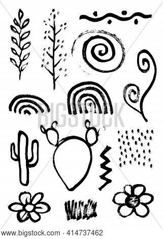 Set Of Vector Grungy Graphite Pencil Art Brushes. Pencil Textures Of Different Shapes. Easy Edit Col