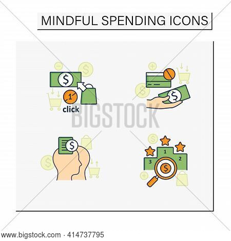 Mindful Spendings Color Icons Set. Rating, Accountability Partner, One Click Buying, Cash Using. Buy