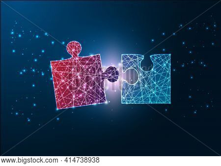 Futuristic Glowing Wireframe Design Red And Blue Jigsaw Puzzle Pieces Fitting Each Other.