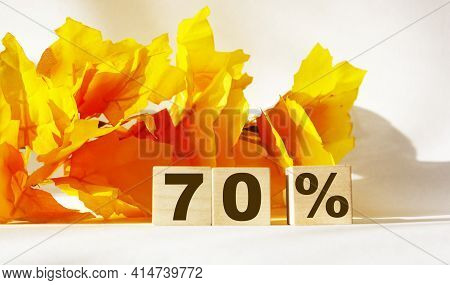 Text 70 Percent On Wooden Cubes For Sales, Business Concept.