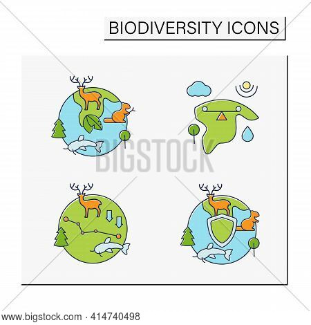 Biodiversity Color Icons Set. Ecosystem Balance, Protection, Loss. Biodiversity Concept. Isolated Ve
