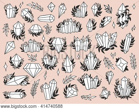 Hand drawn crystal set. Collection of magic elements. Witchcraft design fo stickers. Vector black and white illustration on white backgound.illustrtation on white background.