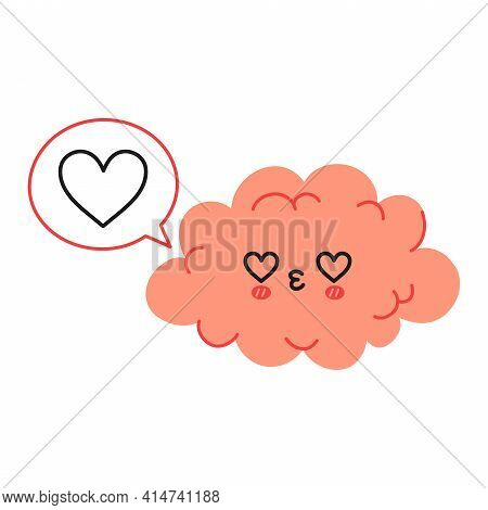 Cute Funny Brain Character And Speech Bubble With Heart. Vector Hand Drawn Cartoon Kawaii Character