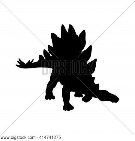 Black Realistic Silhouette Of A Dinosaur On A White Background. Stegosaurus Vector Illustration