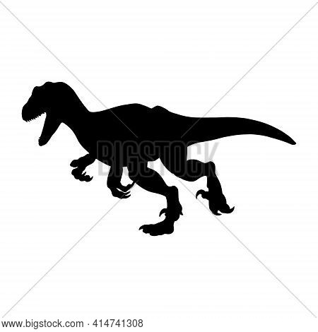 Black Realistic Silhouette Of A Dinosaur On A White Background. Raptor. Vector Illustration