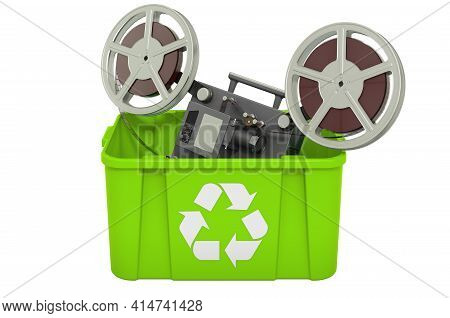 Recycling Trashcan With Film Projector. 3d Rendering Isolated On White Background