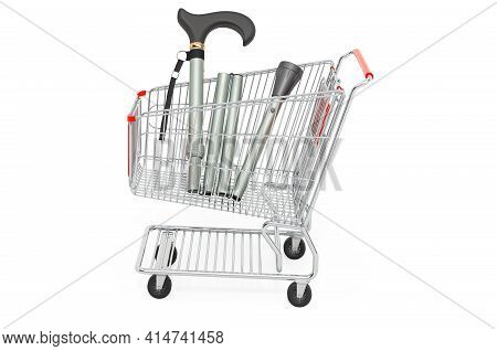 Shopping Cart With Walking Stick. 3d Rendering Isolated On White Background