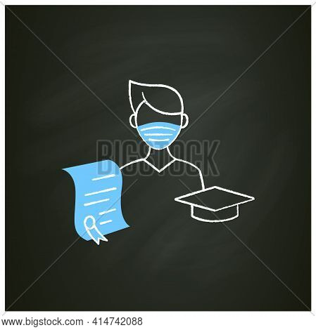 Undergraduate Student Chalk Icon. Personal Growth. Education Process. Bachelor Degree. Person Studyi