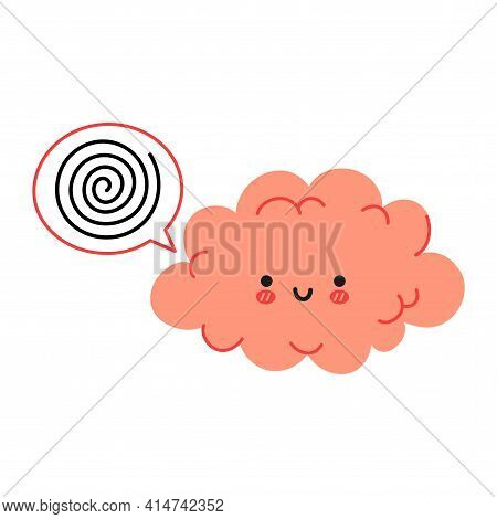 Cute Funny Brain Character And Speech Bubble. Vector Hand Drawn Cartoon Kawaii Character Illustratio