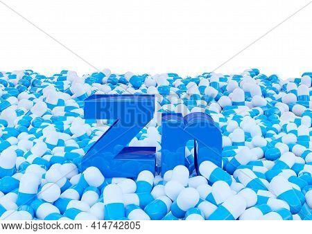 Zinc Symbol Zn On Capsules Isolated On White Background. 3d Illustration