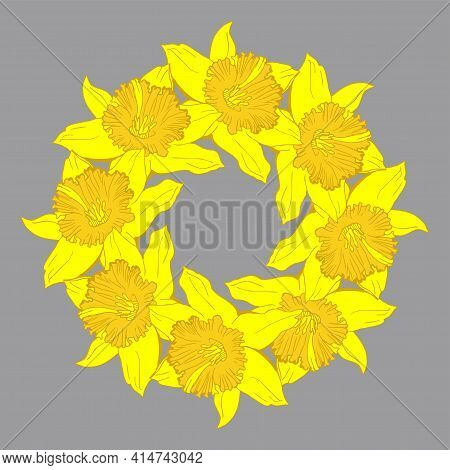 Happy Easter Greeting Card Floral Wreath With Hand Drawn Yellow Flowers Narcissus, Daffodils. Bright