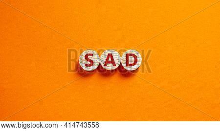 Sad, Social Anxiety Disorder Symbol. Concept Words Sad, Social Anxiety Disorder On Circles On A Beau