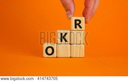 Okr, Objectives And Key Results Symbol. Concept Words 'okr, Objectives And Key Results' On Cubes On