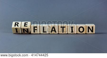 Inflation Or Reflation Symbol. Turned Cubes And Changed The Word Inflation To Reflation. Beautiful G