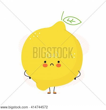 Cute Sad Lemon Fruit Character. Vector Hand Drawn Cartoon Kawaii Character Illustration Icon. Isolat