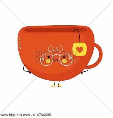 Cute Sad Tea Cup Character. Vector Hand Drawn Cartoon Kawaii Character Illustration Icon. Isolated O