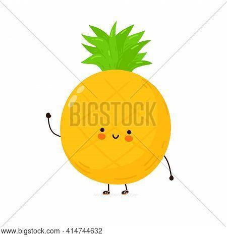 Cute Funny Pineapple Fruit Character. Vector Hand Drawn Cartoon Kawaii Character Illustration Icon.