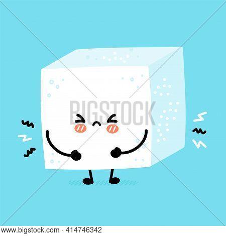 Cute Funny Sad Sugar Piece Cube Character. Vector Flat Line Cartoon Kawaii Character Illustration Ic