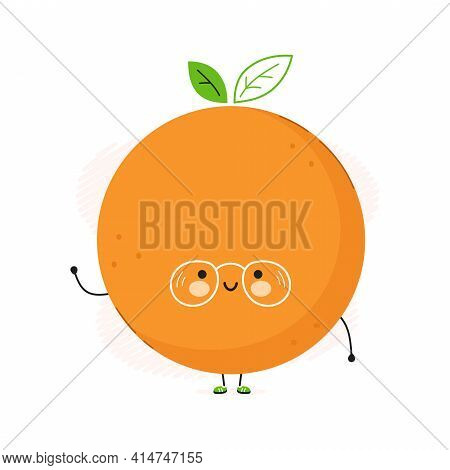 Cute Funny Orange Fruit Character. Vector Hand Drawn Cartoon Kawaii Character Illustration Icon. Iso