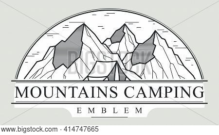 Camping Tent In Mountains Range Vector Linear Emblem Isolated On White, Holidays And Vacations Logo