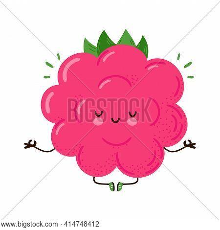 Cute Funny Raspberry Meditate In Yoga Pose. Vector Hand Drawn Cartoon Kawaii Character Illustration