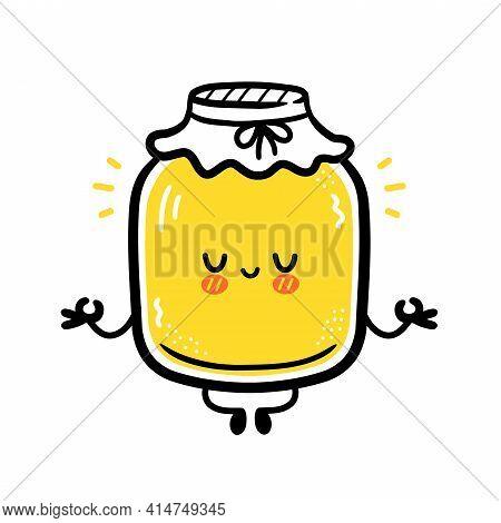 Cute Funny Kombucha Jar Character Meditate. Vector Flat Line Cartoon Kawaii Character Illustration I