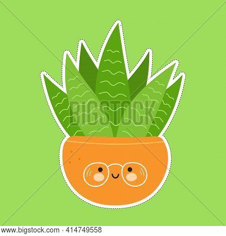 Cute Funny Succulent In A Pot Character Sticker. Vector Hand Drawn Cartoon Kawaii Character Illustra
