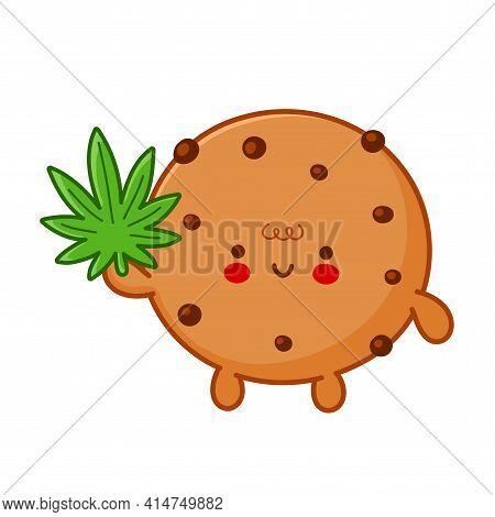 Cute Funny Chocolate Cookie With Marijuana Weed Leaf Character. Vector Flat Line Cartoon Kawaii Char