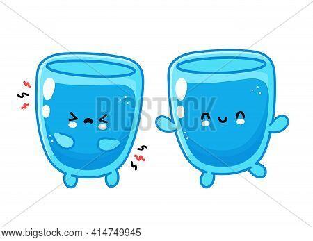 Cute Funny Happy And Sad Water Glass Character. Vector Flat Line Cartoon Kawaii Character Illustrati
