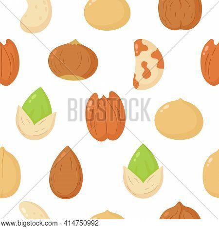 Nuts Mix Banner. Vector Flat Cartoon Illustration Icon Design. Isolated On White Background. Peanut,