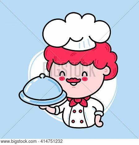 Cute Funny Chef Cook Character Serving A Dish. Vector Hand Drawn Cartoon Kawaii Character Illustrati
