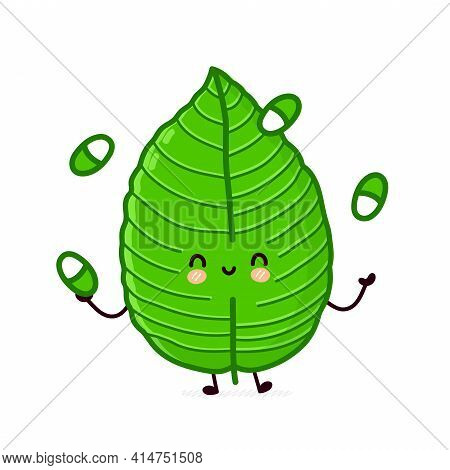 Cute Funny Kratom Leaf Jugging Pills Character. Vector Flat Line Cartoon Kawaii Character Illustrati