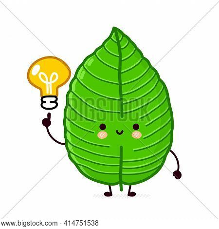 Cute Funny Happy Kratom Leaf Cube Character. Vector Flat Line Cartoon Kawaii Character Illustration