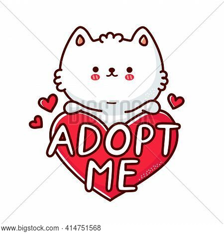 Cute Funny Cat Hold Heart Sign Adopt Me. Vector Flat Line Cartoon Kawaii Character Illustration Icon