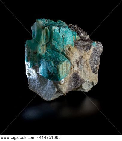 Bright Green Plagioclase Amazonite Mineral Crystals And Morion Smoky Quartz Blotches In Rock Mineral