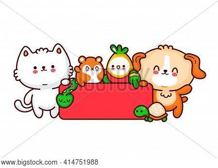 Pet Shop Logo Template Design. Cute Funny Dog, Cat, Hamster, Perrot, Snake, Turtle. Vector Flat Line