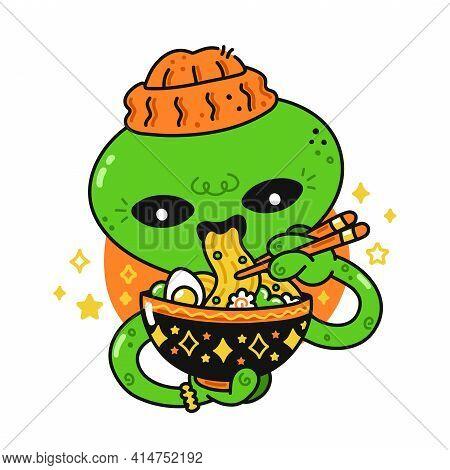 Cute Funny Happy Alien Eat Asian Ramen With Chopsticks. Vector Flat Line Cartoon Kawaii Character Il