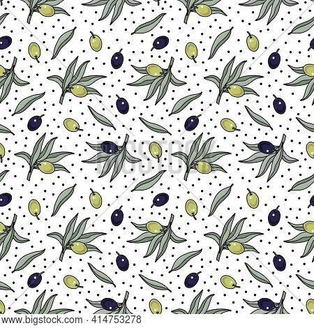 Cartoon Olive Tree Branch Vector Seamless Pattern. Plant, Twig With Leaves, Black And Green Olives.