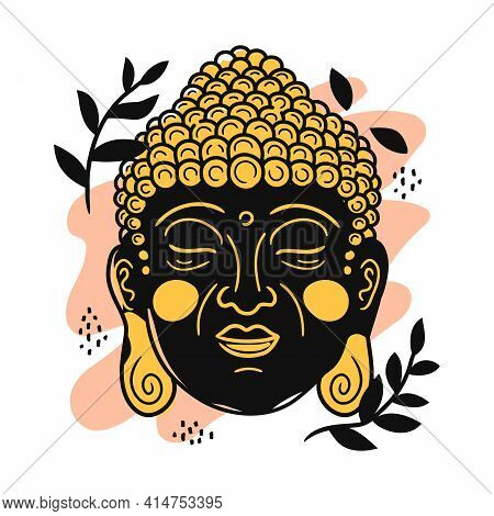 Buddha Portrait In Scandinavian Style. Vector Cartoon Character Illustration Icon. Isolated On White