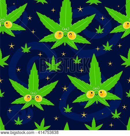 Cute Funny Happy Weed Marijuana Leafs And Stars In Space Seamless Pattern. Vector Kawaii Cartoon Ill