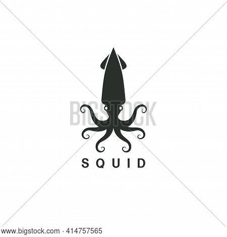 Beautiful Logo Icon Squid , Stylized Image Of Squid Isolated Logo Template, Squid Tattoo  Silhouette