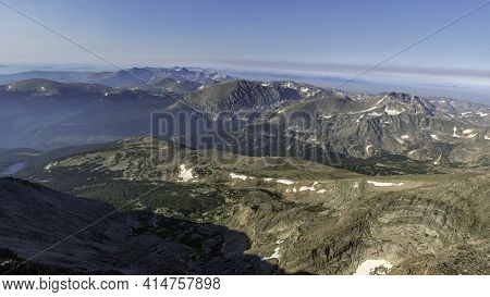 Continental Divide In Rocky Mountain National Park From The Summit Of Longs Peak, Colorado, Summer T