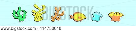 Set Of Coral Reef Cartoon Icon Design Template With Various Models. Modern Vector Illustration Isola