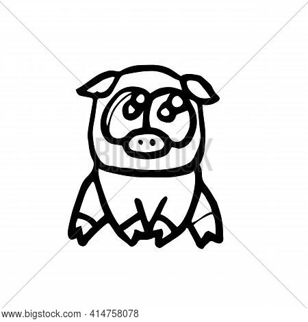Pigs And Piglets. Illustration. Cartoon Sketch Style. Hand Outline Drawing Cheerful Funny Animal. Ve